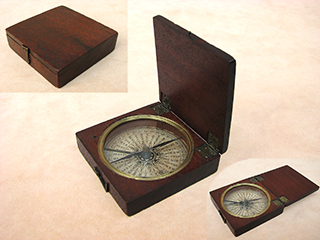 Early 19th century antique mahogany cased pocket compass